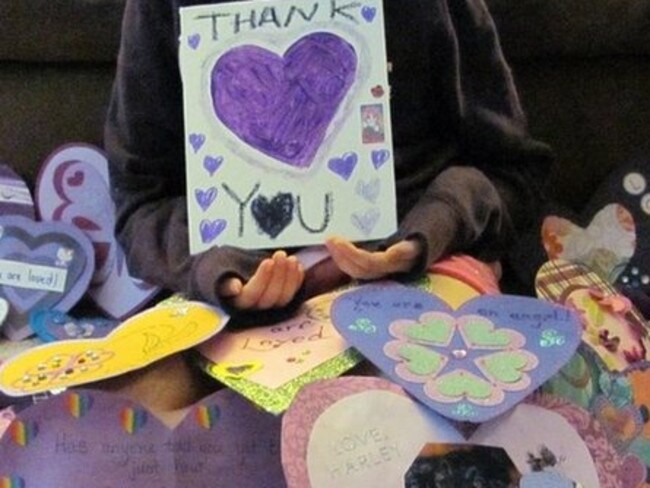 Heartfelt thanks ... the young girl who is recovering from being stabbed 19 times in a Slenderman attack. Picture: AP