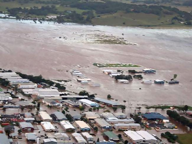 An aerial view of the flooding in the northern New South Wales town of Lismore after the area was hit by Cyclone Debbie. Picture: Rotorwing helicopters/AFP Photo