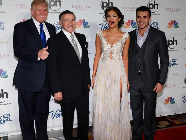 Emin and his father Aras Agalarov in Las Vegas for the 2013 Miss USA pageant, where a deal was signed to bring Miss Universe to Russia. For Emin, the deal would help him break into the US as a pop star. For Trump, it gave him the chance to develop business in Russia, and perhaps meet Putin. Pictured here with Olivia Culpo, Miss Universe 2012. Picture: Ethan Miller/Getty Images