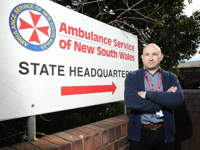 Union delegate Dave Branson is one of the Ambulance NSW headquarters' staff angry about broken sewage pipes in the Rozelle building. Picture: Tim Hunter