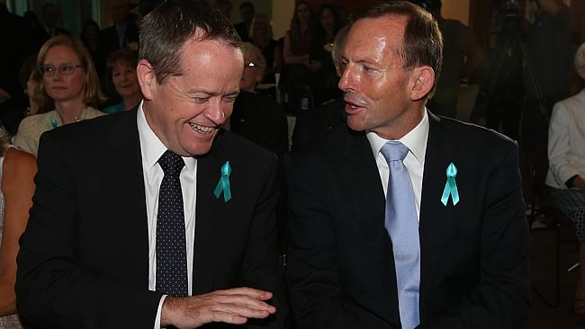 Bill Shorten and Tony Abbott at the Launch of Ovarian Cancer Awareness Month at Parliamen