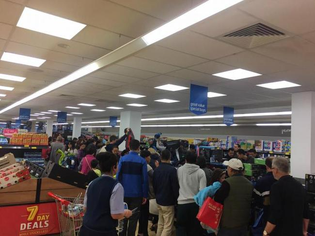 Some of the queues inside ALDI. Picture: Supplied.