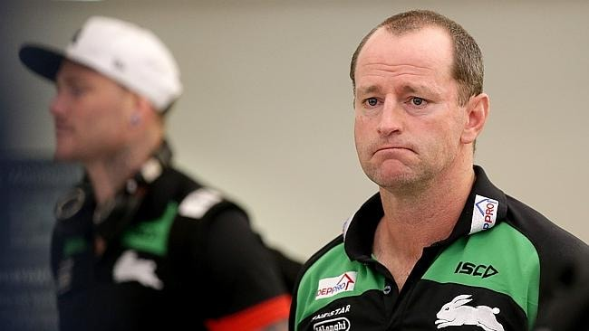 Coach Michael Maguire and the South Sydney Rabbitohs at Sydney Domestic Airport after returning from Townsville