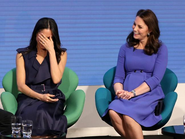 Meghan and Kate make their first working appearance together in London. Picture: Chris Jackson/Getty.