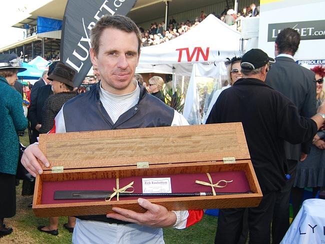 Then jockey Bill Williams with the whip awarded for his winning ride aboard Sir Pentire in the 2009 Grand Annual Steeplechase.
