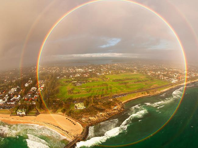 Unique ... Full-circle rainbow over Cottesloe Beach in Perth. Picture: Colin Leonhardt