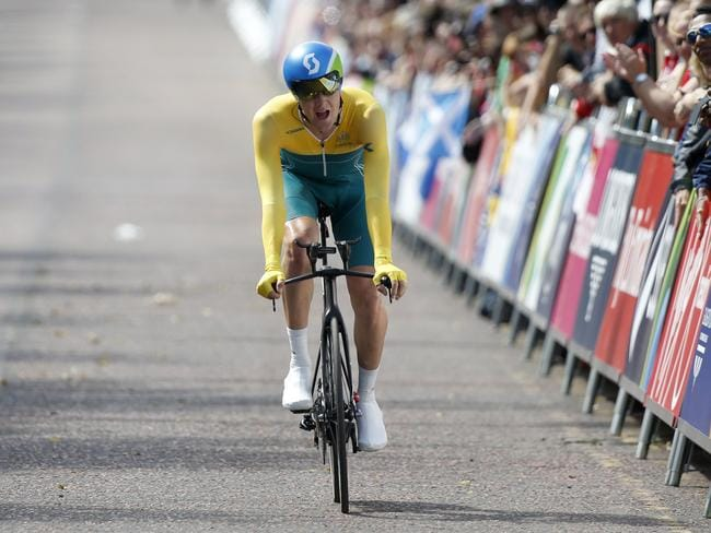 Australia's Luke Durbridge feels the pain as he nears the finish of the time trial.