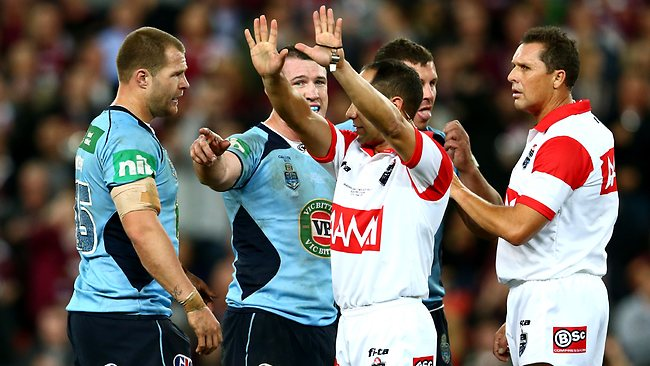 NSW Blues prop Trent Merrin is one of four players sent to the bin.