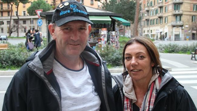 Paul Levey and partner Michele on the eve of the face off with Cardinal Pell in Rome. Picture: Charles Miranda