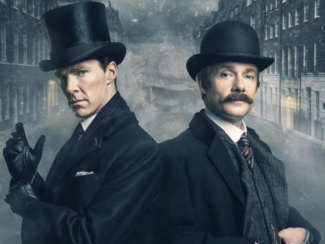 Martin Freeman, right, as Dr John Watson and Benedict Cumberbatch as Sherlock Holmes. Freeman won an Emmy in 2014 for Best Supporting Actor in a Miniseries or Movie for his role as Dr Watson Picture: Supplied