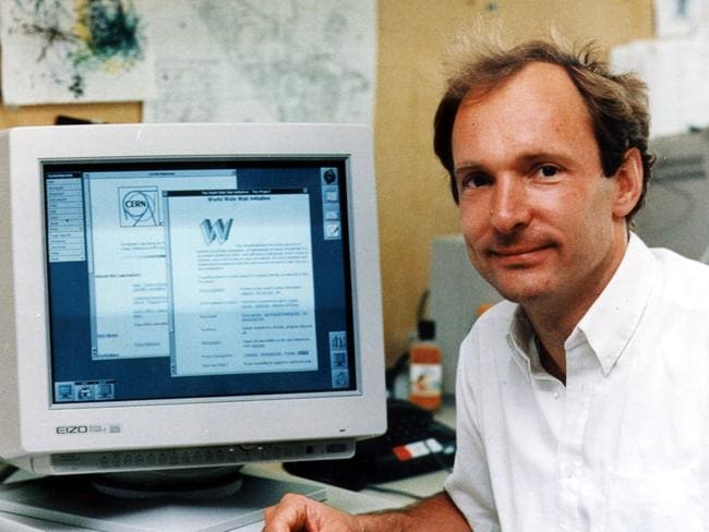 Tim Berners-Lee, the man who invented the World Wide Web with his original web server.