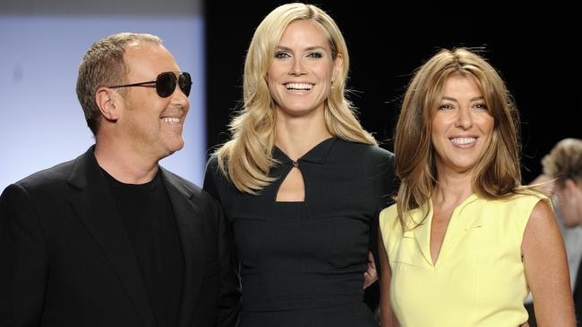Designer Michael Kors, Heidi Klum and Nina Garcia at the 2008 Project Runway finale. Picture: AP