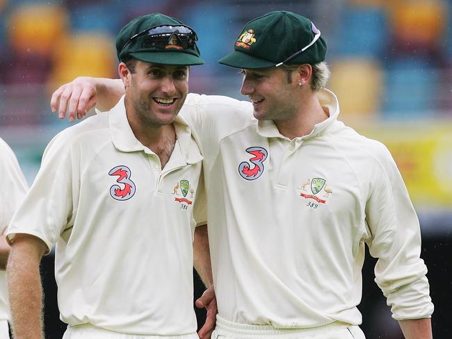 Simon Katich (L) and Michael Clarke (R).