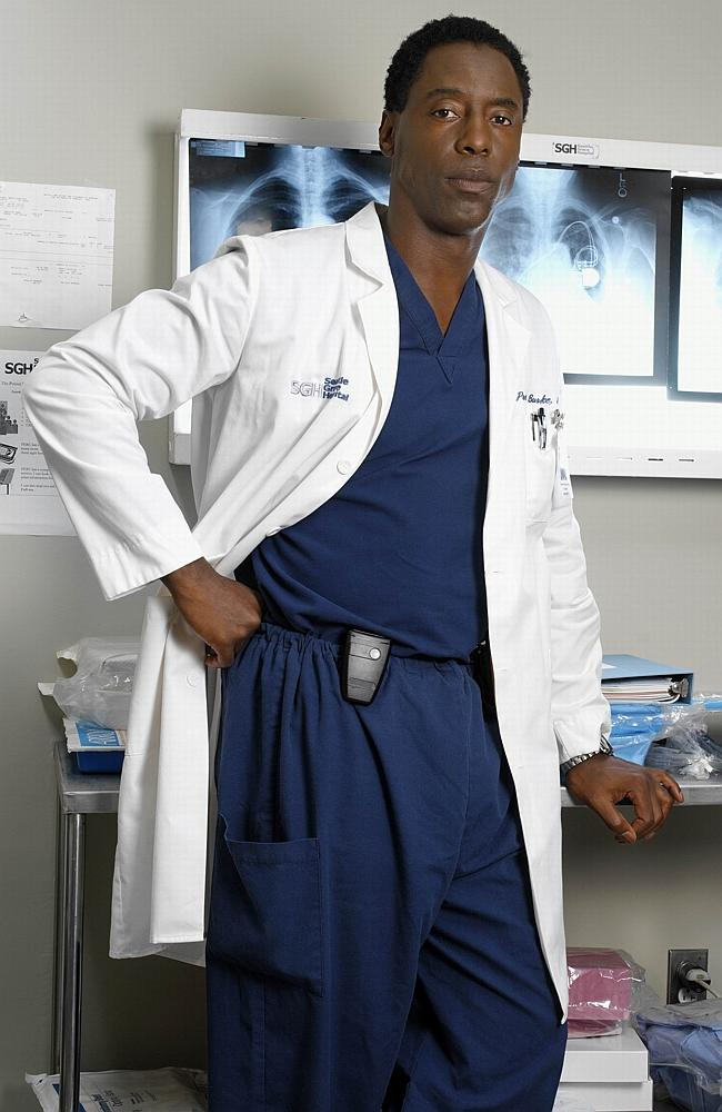 /PLEASE /CREDIT: PicCh7 - Isaiah Washington, as Dr Preston Burke, on the set of Grey's Anatomy. actor f/l tv series scene 20...