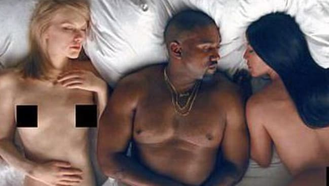 Kanye West's controversial Famous video, which featured wax likenesses of Taylor Swift and Kim Kardashian. Picture: Supplied