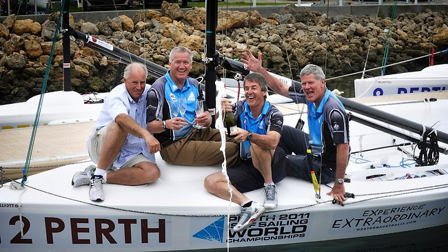 Peter Gilmour, second from left, is retiring after a distinguised sailing career