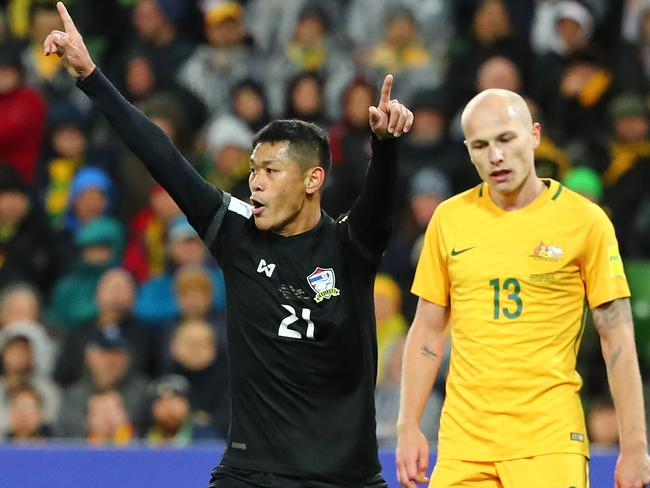 Aaron Mooy is stunned that Thailand are level.