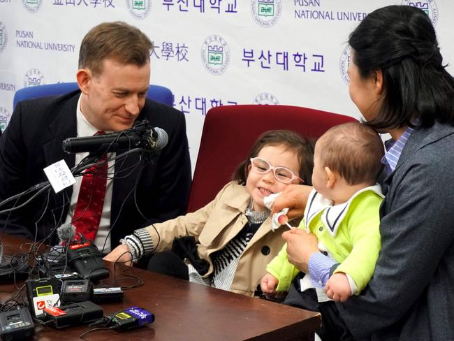 Robert Kelly, an expert on East Asian affairs and a professor at South Korea's Pusan National University, his wife Kim Jung-A, daughter Marion and toddler son James. Picture: AFP.