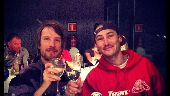 Tragedy ... Matthew Robinson, left, has died while he was being flown home from Spain following an injury at the Paralympic World Cup in Spain. This is the last picture he posted to Twitter with his friend Mike Shea toasting the start of competition.
