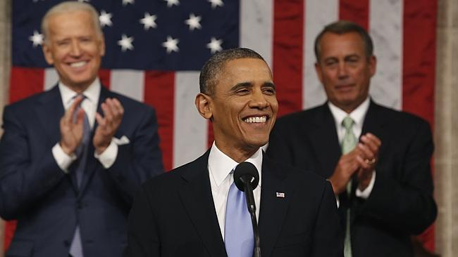 Reinvigorating supporters ... US President Barack Obama during his State of the Union address. AFP photo/ Larry Downing