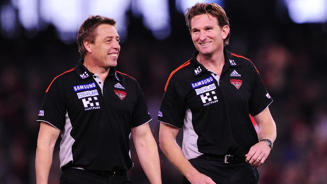 Essendon v Gold Coast Suns. Etihad Stadium. Mark Thompson and James Hird all smiles