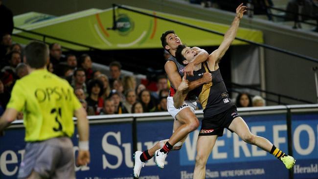 Strangely this wasn't the incident Cotchin received a free kick for. Picture: Colleen Petch