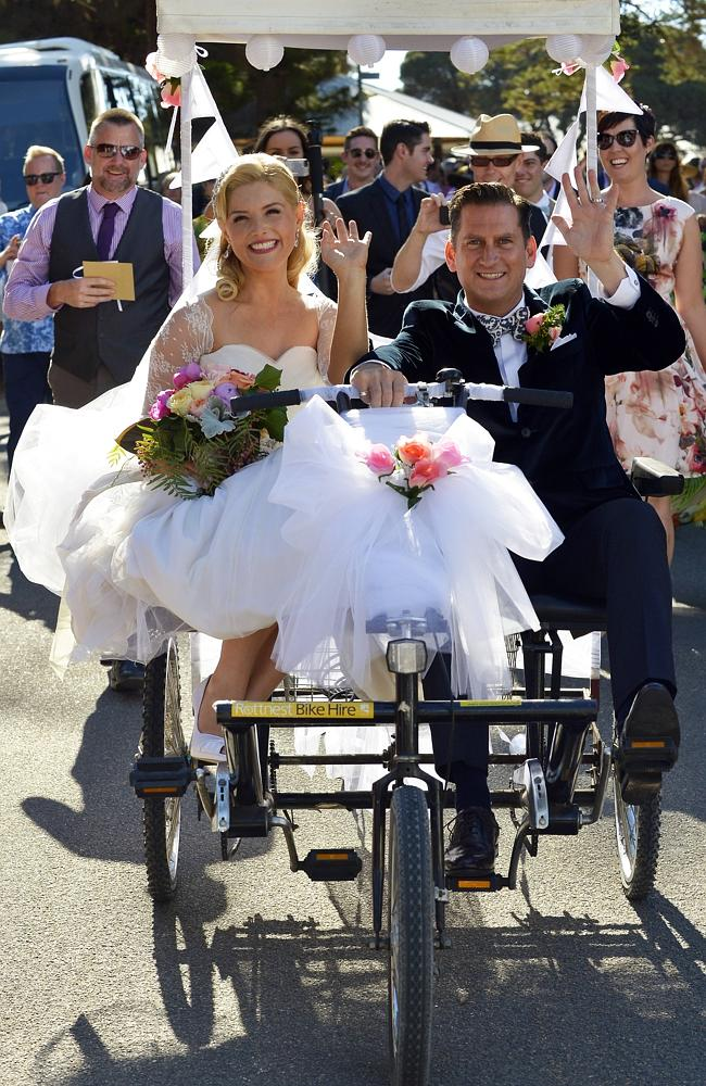 Newlyweds Lucy Durack and Chris Horsey ride into the sunset on Rottnest Island