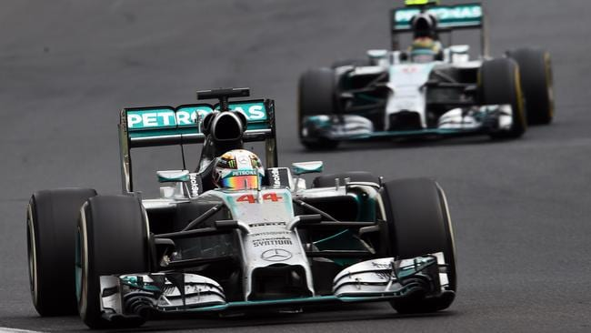 Hamilton leading Rosberg in the closing stages.