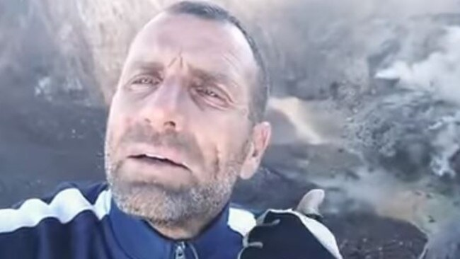 French man Karl Kaddouri has filmed himself on top of Bali's Mount Agung. Picture: Facebook