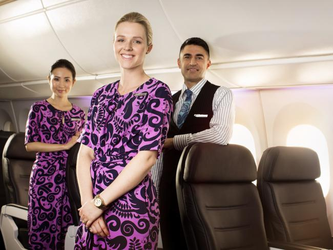 Air New Zealand flight attendants in the newly launched Premium economy class. Picture: Supplied