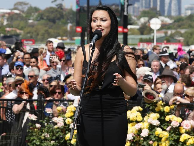 Saved the day ... backing singer Nadia Aya had just minutes to prepare for singing the anthem after Jessica Mauboy pulled out. Picture.Andrew Tauber