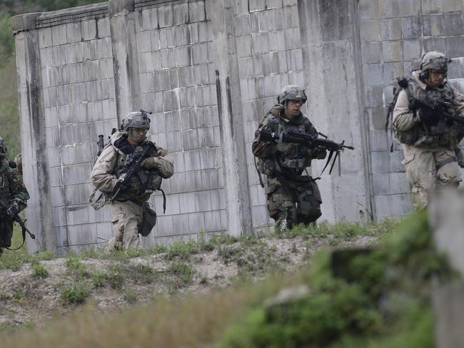 The training is part on an ongoing joint exercise near the North Korean border. Picture: Ahn Young-joon/AP