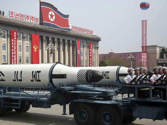 In April, a submarine-launched ballistic missile was displayed in Kim Il-sung Square during a military parade in Pyongyang. Picture: AP Photo/Wong Maye-E, File