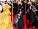 Caped crusaders ... Rihanna, Madonna and Gaga at the Met Gala 2015. Picture: Getty