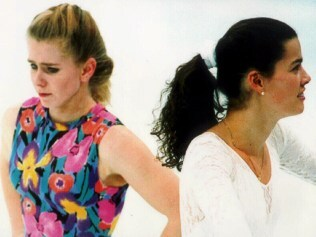 Ice skater Tonya Harding (l) with Nancy Kerrigan avoiding each other during training in Hamar's Olympic Ampitheatre 17 Feb 1994.