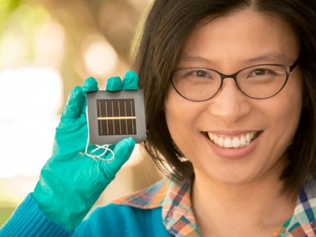 Dr Ho-Baillie with a perovskite cell. Her team have been responsible for a significant advancement in the field.