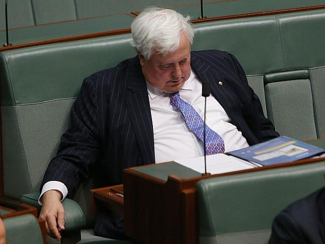 Clive Palmer sleeping during Question Time in the House of Representatives in Parliament