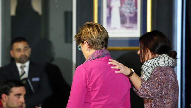 Kate Noble supports her mother Elizabeth at the media conference. Picture Craig Greenhill
