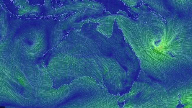 The front is edging closer to Queensland. Picture: earth.nullschool.net