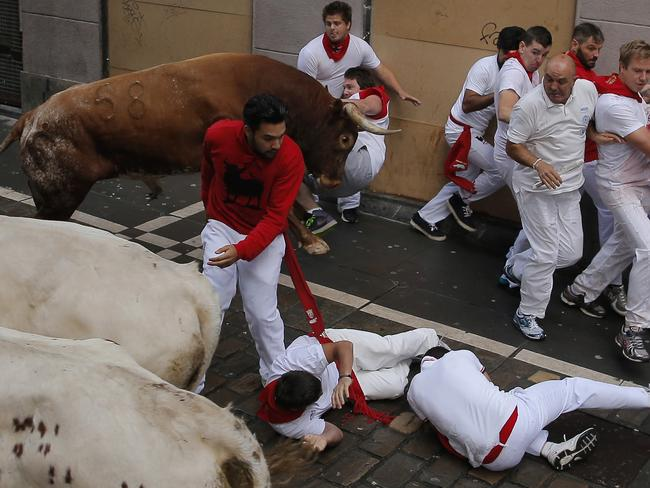 The Australian was cornered by one of the bulls. Picture: Andres Kudacki