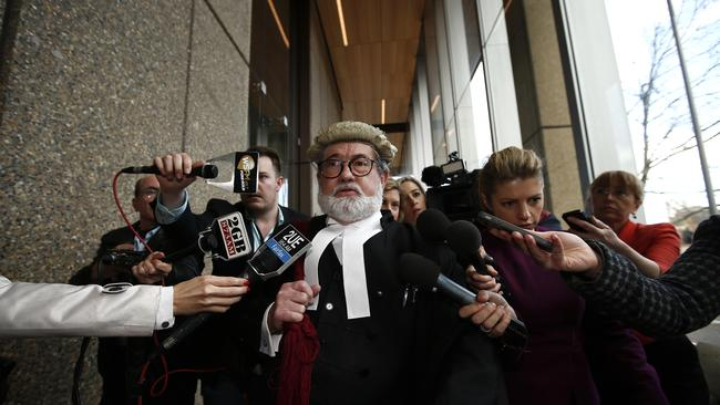Keli Lane's Barrister, Winston Terracini SC, leaves the Supreme Court, Queens Square after the appeal hearing was rejected. Picture: Bradley Hunter