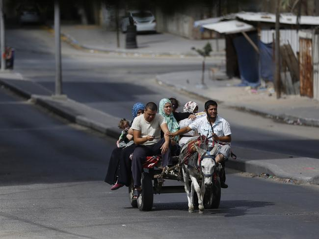 "Low tech ... Members of a Palestinian family leave Gaza City's Al-Shejaea neighbourhood on a donkey-cart to a safer location after Israel's army started its ground offensive on the Gaza Strip. Donkeys have been targeted as ""suspicious"" by Israel's military."