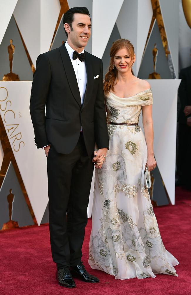 Sacha Baron Cohen and Isla Fisher attends the 88th Annual Academy Awards on February 28, 2016 in Hollywood, California. Picture: AP