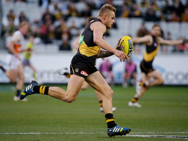 Brandon Ellis bounces the football against GWS in Round 19. Picture: Colleen Petch