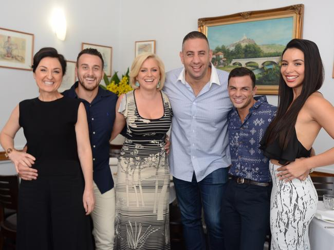 The cast of Channel 9's Here Come the Habibs. From left: Camilla Ah Kin, Sam Alhaje, Helen Dallimore, Rob Shehadie, Tyler De Nawi and Kat Hoyos. (AAP/Nine Network)