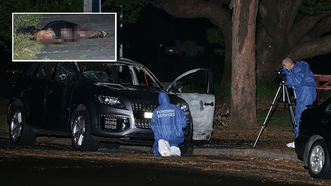 Police forensice teams establish a crime scene after Pasquale Barbar (inset) was killed. Picture: Bill Hearne.