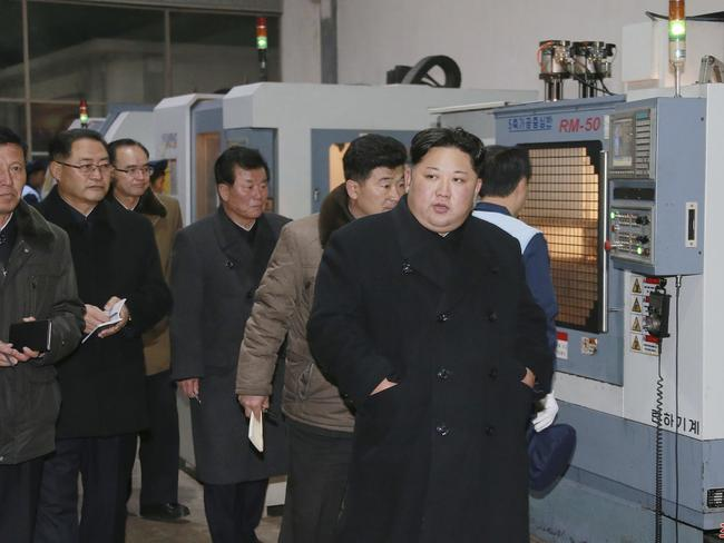 North Korean leader Kim Jong-un visits the Sungri Motor Complex in Pyeongannam-do. Picture: Korean Central News Agency/Korea News Service via AP
