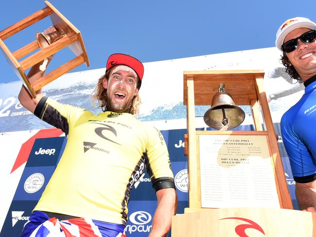 One very happy Matt Wilkinson, the first goofy since Mark Occhilupo in 1999 to win Bells last year.
