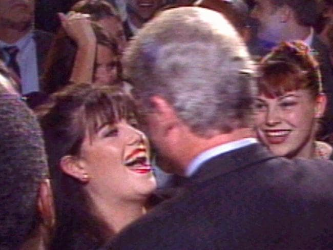 Close and personal ... Monica Lewinsky (left) greeting then-US President Bill Clinton in October 1996 at the time of their affair. Picture: CNN