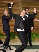 Director Spike Jonze, director David O. Russell and actor Johnny Knoxville attend the 2014 Vanity Fair Oscar Party. Picture: Getty